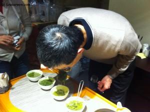 Sentir les feuilles de thés