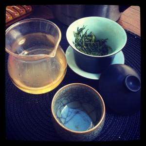 Thé vert chinois pour se désaltérer avant d'attaquer l'après midi