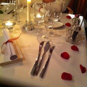 Notre table spécial Saint Valentin