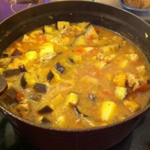 Curry de porc aux aubergines