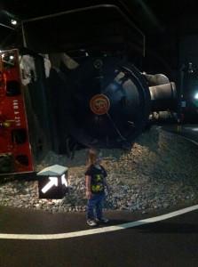 LMS locomotive déraillée