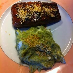 Pavé de saumon et purée de brocoli