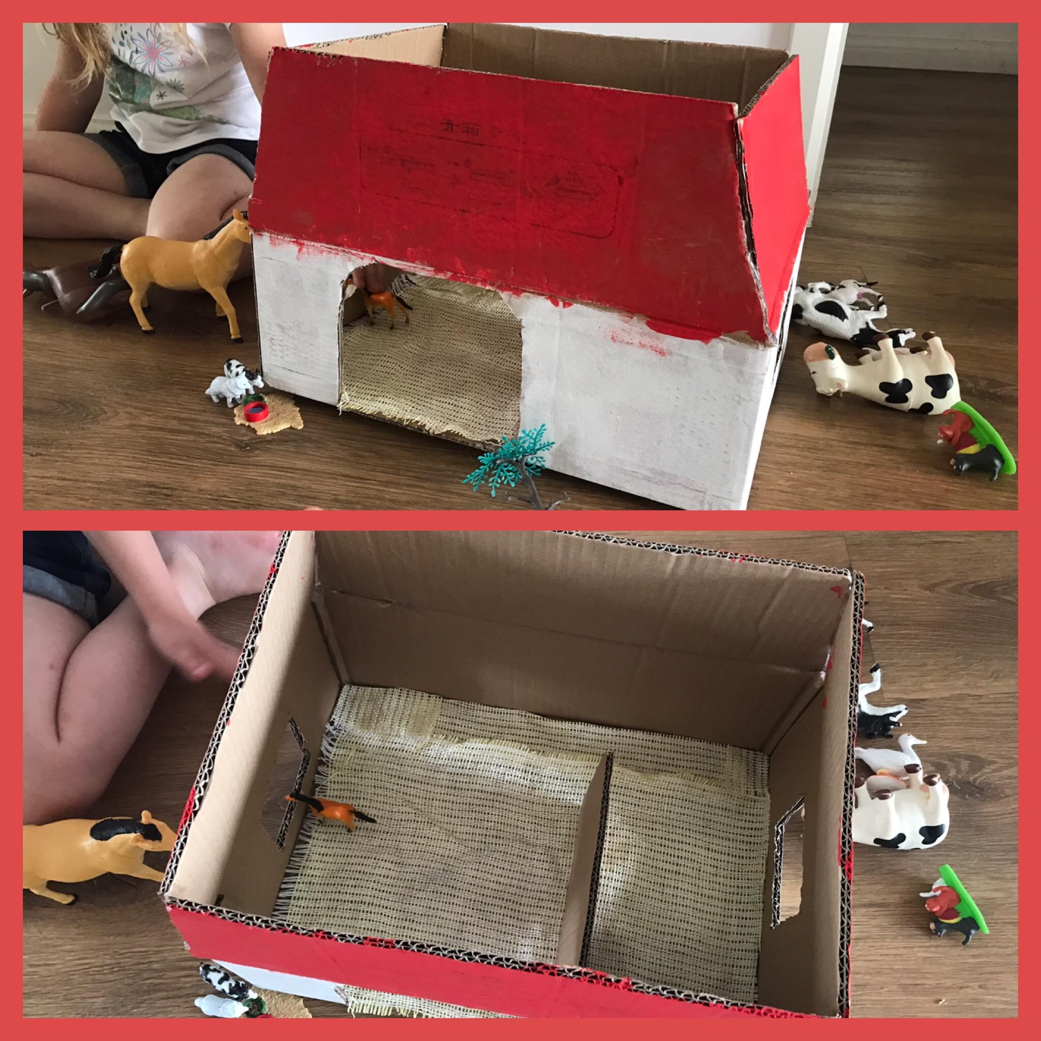 diy une ferme en carton le retour de la famille kangourou. Black Bedroom Furniture Sets. Home Design Ideas